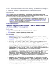 IFRIC Interpretation 6 Liabilities arising from Participating in a Specific Market - Waste Electrica