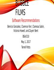 Bubble Films Software Recommendation