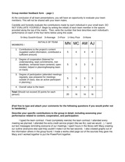 Social Issues - Group member feedback form