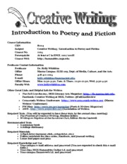 CRWR 2105 Fall 2013 Syllabus
