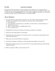 Trace Minerals- Exam Review Questions