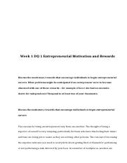 rev Week 1 DQ 1 Entrepreneurial Motivation and Rewards.doc