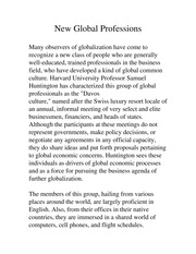 New Global Professions