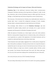 Impact of Columbian Exchange to Europe and Americas (3).docx
