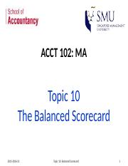 Topic 10 Balanced Scorecard