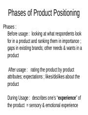 Phases of Product Positioning