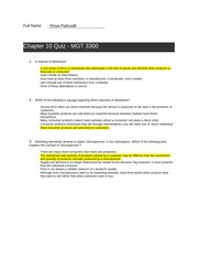 Chapter 10 Quiz answers - MGT 3300