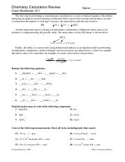12-1ChemCalcReview.pdf - Chemistry Calculation Review Name Chem ...