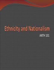 ANTH 101 Ethnicity and Nationalism