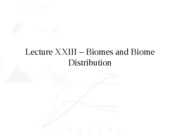 Lecture XXIII � Biomes