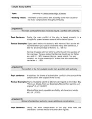 English - Sample Essay Outline