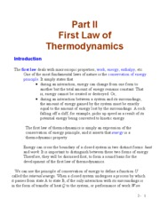Part II First Law of Thermodynamics