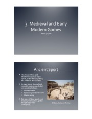 3. Medieval and Early Modern Games