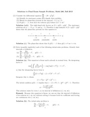 Sample Final Exam Solution on Ordinary Differential Equations