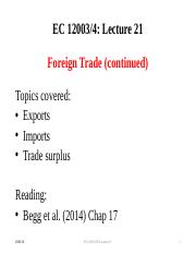 Lecture 21 Foreign Trade