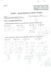 MBF3C Solving Equations and Triangles