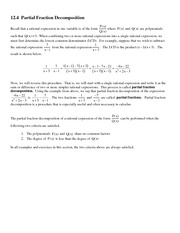 12.4  Partial Fraction Decomposition