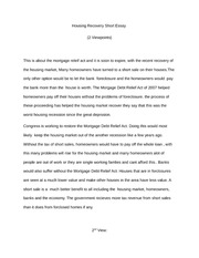 Housing Recovery Short Essay