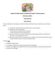 Chapter 6 and 7 group summary outline