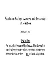 Day 05 Population Ecology - Selection 31 Jan 2014
