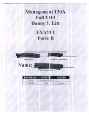Mgmt 120A Exam 1 Fall 2013