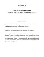 IT CHAPTER 17: Property transactions: section 1231 and recapture provisions notes.docx