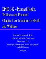 EPHE 142 Chapter 1 An Invitation to Health 4ce student