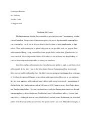 TC: Realizing My Powers Essay