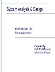 1- Introduction to UML- Bussiness Use Case