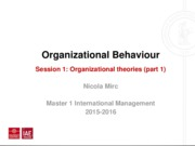 Lecture 1 Organisational Theories (part 1)