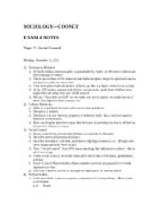 "SOCIOLOGYâ€""COONEY Exam 4 Notes"
