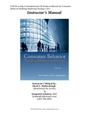 Solution Manual for Consumer Behavior Building Marketing Strategy 12th