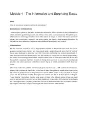 engl module classical argument position paper draft in  2 pages engl 123 module 4 the informative and surprising essay