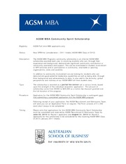 AGSM MBA internal Scholarship Community Spirit