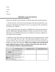 Unv 103 week 6 goal setting activity 14 smart goals worksheet 5 pages unv108 week 6 smart goals worksheet course hero upoadcx ibookread PDF
