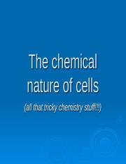 The chemical nature of the cell