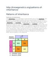 Patterns of Inheritance and Inheritance