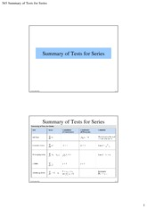 565 Summary of Tests for Series