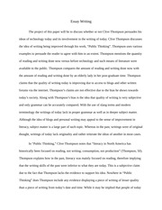 Essay on Clive Thompson