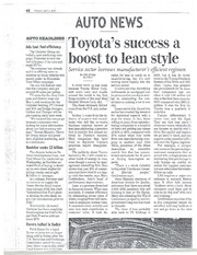 Toyota success boost to lean manufacturing