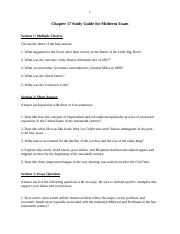Chapter 17 Study Guide for Midterm Exam.docx