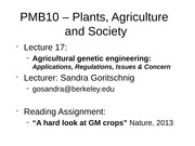 17 - Agricultural Genetic Engineering Applications, Regulations, Issues and Concerns