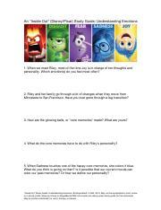 Inside Out Movie Lesson Plan