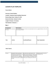 LESSON PLAN TEMPLATE elementary backstroke