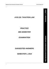 AYB 219 Practice Mid-Semester Examination Answers