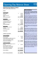 Copy Of Opening Day Balance Sheet Xlsx Opening Day Balance Sheet Enter Your Company Name Here Notes On Preparation Assets Current Assets Cash In Bank Course Hero