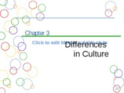 Chapter 3a Differences in Culture