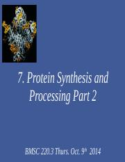 7.  Protein synthesis and processing 2014 PAWS part II.ppt