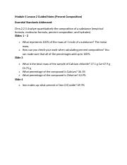 Honors Chemistry Module 5 Lesson 2 Guided Notes
