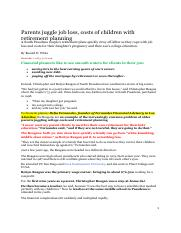 1-Parents juggle job loss--LA Times article  with comments -Deliah F